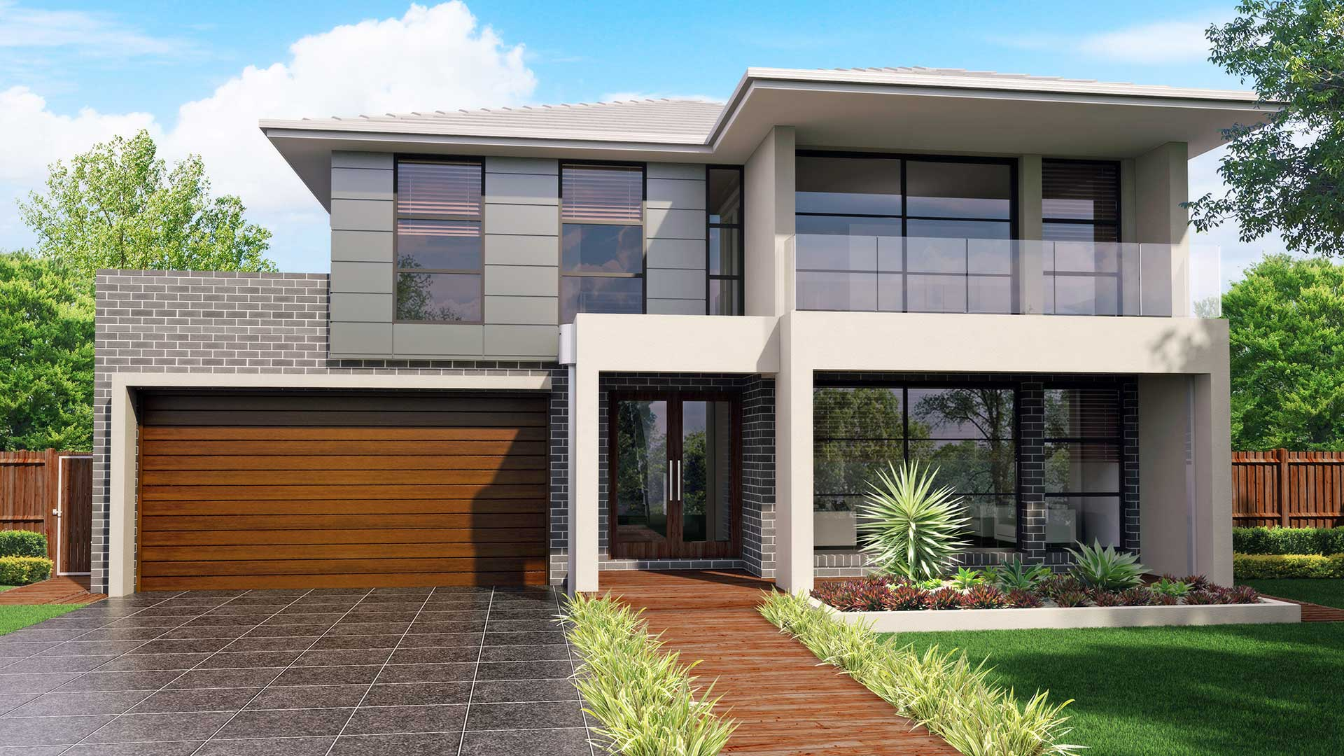 Australis 32, Modern Facade with Balcony - Jandson Homes